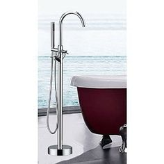 LightInTheBox Single Handle Freestanding Contemporary Floor Mount Tub Filler with Hand Shower, Chrome - Shower Systems - Amazon.com