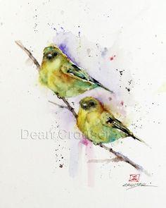 Chardonneret paire aquarelle oiseau Print, Art d'oiseau par Dean Crouser