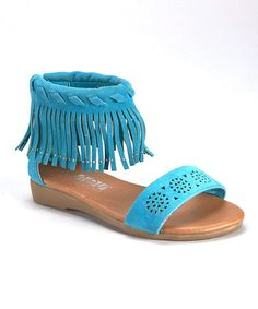 Another great find on #zulily! Turquoise Braided Fringe Sandal #zulilyfinds