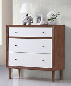 Take a look at this White & Walnut Harlow Modern Chest today!