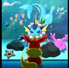 Pokemon flareon vaporeon underwater world illustration Pokemon Flareon, Eevee Evolutions, Pikachu, Boboiboy Anime, Anime Comics, Pokemon Fan Art, Adventure Time Zeichnungen, Adventure Time Drawings, Water Type Pokemon