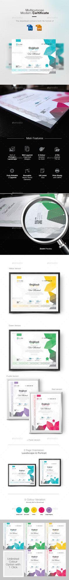 Modern Certificate  — PSD Template #academic certificate #diploma #appreciation…