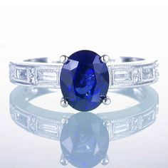 Oval Ceylon Sapphire Solitaire Engagement Wedding Ring by SAMnSUE, $3980.00