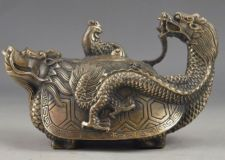 Embossed Dragon Chinese Old Handwork Vintage Tea Pot Decor