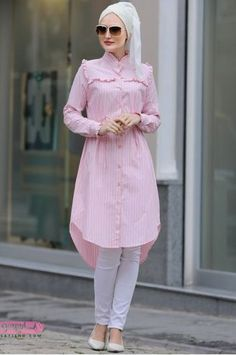 Stunning Button Front Tunic Outfit Ideas for Hijabies – Girls Hijab Style & Hijab Fashion Ideas Stylish Dresses For Girls, Modest Dresses, Modest Outfits, Modest Fashion Hijab, Casual Hijab Outfit, Islamic Fashion, Muslim Fashion, Look Fashion, Fashion Outfits