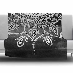East Urban Home Mandala by Li Zamperini Fleece Blanket Color: Black/White