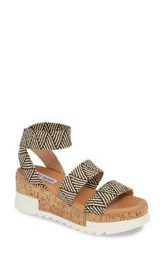 Women's Steve Madden Bandi Platform Wedge Sandal, Size 11 M - Black Strappy Wedges, Style Casual, Platform Wedge Sandals, Cheap Shoes, Steve Madden, Ankle Strap, Peep Toe, Espadrilles, Footwear