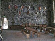 Caerphilly Castle - you can rent this hall for weddings - there was a wedding the day we were there....