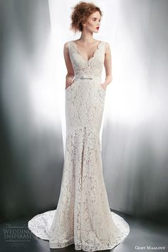 gemy maalouf 2015 bridal sleeveless lace sheath wedding dress with pockets style 4139