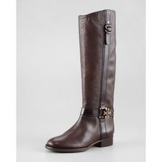 "The Tory Burch ""Elina"" Riding Boot in Mahogany Pebbled Leather. $498"