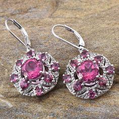 Pure Pink Mystic Topaz, Orissa Rhodolite Garnet, and White Topaz Lever Back Earrings in Platinum Overlay Sterling Silver (Nickel Free)