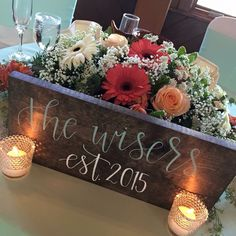 Sweetheart table : rustic chic : country wedding : est sign : new family : mint and coral wedding : gerbera daisies : candles