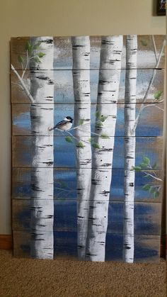 Painting On Wood Pallet White Birch Wall Decor Painting 4 Piece Set 9 Wide Total Hand Painted Dark Blue Reclaimed Wood Rustic Shabby - Painting Pallet Painting, Tole Painting, Painting On Wood, Painting Quotes, Painting Trees On Canvas, Paintings Of Trees, Rustic Painting, Abstract Tree Painting, Acrylic Paint On Wood