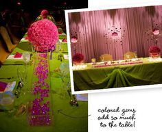 long buffet table with round centerpieces