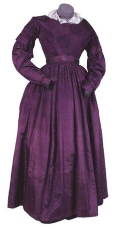 Purple silk dress, dated c. 1837, Bowes Museum collection: 1966.92/CST.1132.