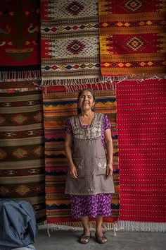 Visiting the traditional weavers in Teotitlan del Valle and their beautiful hand-made tapetes (rugs) in traditional Zapotec colors and designs. Oaxaca, Mexico.