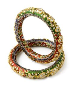 Artistic Diamond Polki Bangle with Red, Green & Blue Enamel