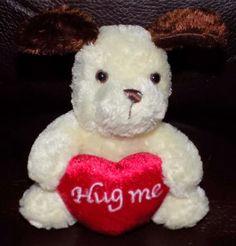 5-034-Aurora-Cream-Brown-PLUSH-Puppy-Dog-w-Hug-Me-Red-Heart