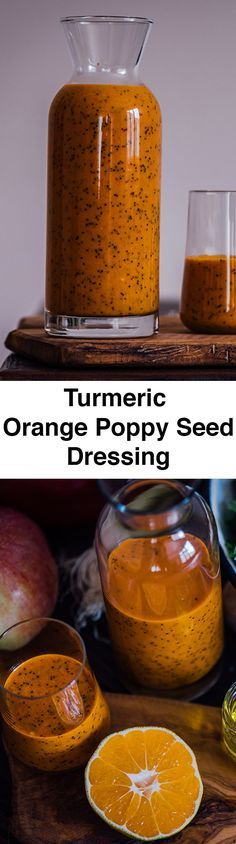 Turmeric Orange Poppy Seed Dressing is tangy, slightly sweet and crunchy. You will feel an explosion of flavors in your mouth when you taste it. Perfect for fall salads! Plus, you can use the leftovers for smoothies.