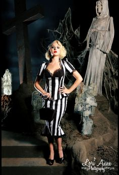 Vintage Goth Pinup Capsule Collection- High Waisted Skirt in Stripes with Fishtail Hem $90.00 small