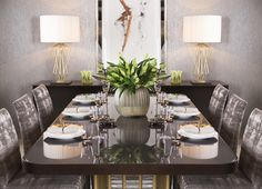 Impress your guests with the exquisite Ascot dining table. Masterfully crafted with a brass cylinder frame and a rich walnut top, this table brings an air of opulence to any dining room