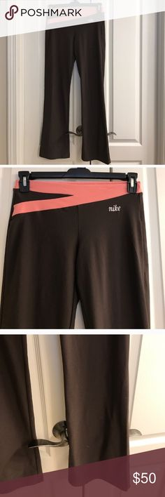 Size small brown and coral Nike yoga pants Size small brown and coral Nike yoga pants Nike Pants Track Pants & Joggers