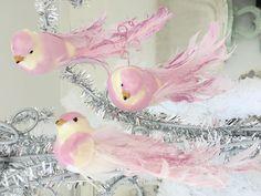 Set Shabby Chic 3 Purple Glitter Feather Birds Christmas Decorations Ornaments