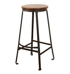 Industrial Stool w/ Oak Seat and Footrest  Circa 1925 G0528