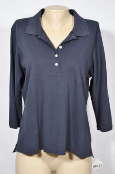 L.L. BEAN NEW NWT Black Polo Shirt Large Slightly Fitted 3/4 Sleeves Unlined #LLBean #PoloShirt #Casual