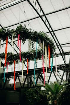 A Bright, Quirky Wedding at Planterra Conservatory in West Bloomfield, Michigan Bohemian Flowers, Silk Flowers, Quirky Wedding, Grow Together, Taper Candles, Delphinium, Streamers, Flower Crown, Newlyweds