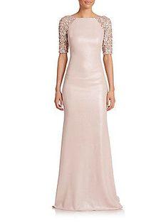 Badgley Mischka Embellished Raglan-Sleeve Gown - Blush - Size