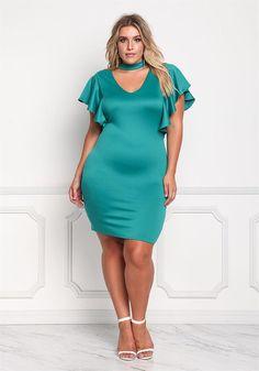 Plus Size Clothing | Plus Size Ruffle Sleeve Choker Bodycon Dress | Debshops