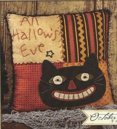 Primitive Folk Art Wool Applique Pattern:  OCTOBER - PATCHWORK PILLOW. $5.00, via Etsy.