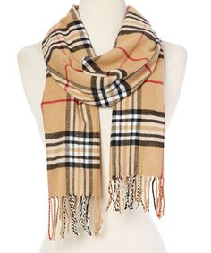 Look what I found on #zulily! Camel Plaid Fringe Scarf by Mall Concepts #zulilyfinds