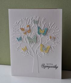 Uses a Craft Concepts embossing folder (company in NZ) and Martha Stewart butterfly punch (card by Anthea McConachy) **opt. For tree, die-cut tree in white cardstock. Pretty Cards, Cute Cards, Diy Cards, Tarjetas Diy, Butterfly Cards, Butterfly Tree, Butterflies, Embossed Cards, Get Well Cards