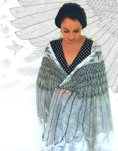 Bufandas - Bufanda/chal con alas de ángel - hecho a mano por katiwo en DaWanda
