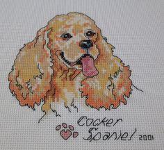 Cocker Spaniel portrait finished cross stitch picture unframed