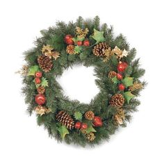 Decorated Wreath with Red Apples and Pears - 30 Inch by National Tree Company. $69.91. Adds a welcoming touch to your home. Create the festive look and feel for the holidays. Prefect additon to your holiday décor. For indoor or outdoor use. Fire resistant and non allergenic. For indoor or outdoor use, this Decorated Wreath makes a great addition to any holiday décor. It features 126 tips with apples, pears, and eucalyptus. The wreath is fire resistant and is...