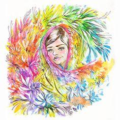 "#Malala Yousafzai Illustration 5"" x 7"" Colorful Floral Art Print. #inktober"