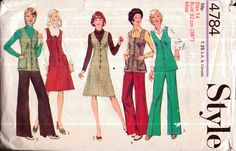Genuine Vintage 1970s STYLE 4784 Ladies FUNKY Variety Tunic Waistcoat, A-line Dress and Flared Trousers Set Sewing Pattern