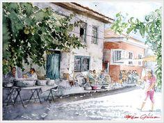 ORHAN GÜLER - Türkish Watercolor Artist Painter - Denizli Sarayköy Art Work Watercolor Artist, Watercolor Landscape, Urban Sketchers, Water Colors, Watercolor Techniques, Art Sketchbook, Sketchbooks, Middle East, Art Work