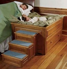 """Dog Stairs For High Bed - Visual Hunt (too bad she would never stay in """"HER be. - Dog Stairs For High Bed – Visual Hunt (too bad she would never stay in """"HER bed"""" and end up i - Dog Stairs For Bed, Bunk Beds With Stairs, Diy Dog Bed, Diy Bed, Dog Bunk Beds, Doggie Beds, Pet Beds For Dogs, Dog Ramp For Bed, Cute Dog Beds"""