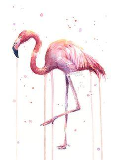 Pink Flamingo Watercolor Tropical Bird Art Print by OlechkaDesign Flamingo Painting, Flamingo Art, Pink Flamingos, Flamingo Illustration, Illustration Art, Bird Prints, Wall Art Prints, Bird Wall Art, Watercolor Paintings