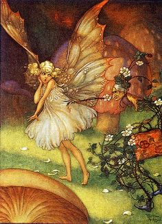Thorn-Woman Accosts Fairy Girl--Vintage Illustration: