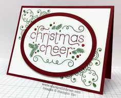 """SU ! Stamp Sets: Cheerful Christmas, Wintertime (filigree """"corners""""); Papers: Cherry Cobbler, Whisper White; Ink: Garden Green, Stampin' Write Markers (Cherry Cobbler, Garden Green), Blendabilities (Cherry Cobbler, Old Olive) to color pearls; Accessories: Pearl Basic Jewels, Ovals Collection Framelits, Stampin' Dimensionals - Brian King"""