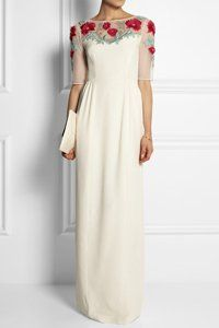 Beautiful wedding dresses with sleeves! Temperley London Magnolia embroidered tulle wedding gown with sleeves, £2,500