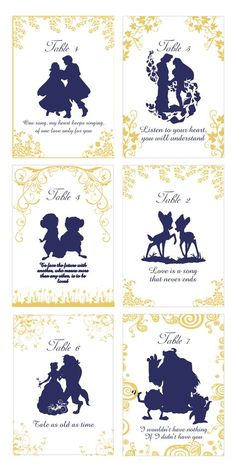 Disney Couple Table Numbers, Gold Wedding Table Numbers, Disney Wedding, Elegant Table Cards, Disney Couple Silhouettes - Page 2 of 31 - Wedding Dream Book Table Numbers, Wedding Table Numbers, Disney Table Numbers, Wedding Seating, Reception Seating, Wedding Reception, Wedding Venues, Disney Table Plan, Wedding Destinations