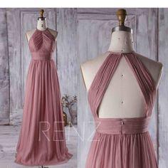 Dusty Rose Bridesmaid Dresses, Dusty Rose Dress, Bridesmaids, Bridesmaid Color, Open Back Evening Gown, Evening Gowns, Wedding Dress Empire, Dress Wedding, Lace Wedding