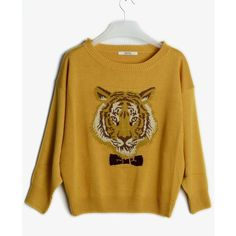Yellow long sleeve cotton pullover ($43) ❤ liked on Polyvore