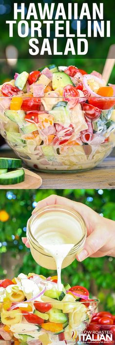 Hawaiian Tortellini Salad is a like a party in your mouth! It's a blend of your favorite island flavors in a fabulously bright, sweet and tangy summer pasta salad. A simple recipe with an outstanding pineapple-ginger dressing, this will be a hit everywhere you take it.